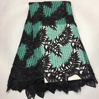 4 options (5yards/pc)  High quality African big cord lace fabric black and green guipure lace newest design for dress    WLE027