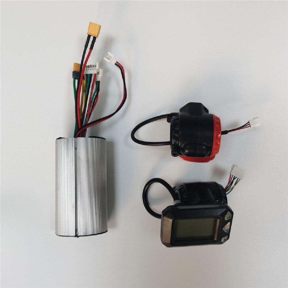 24 v/36 v scooter controlador do motor sem escova de alumínio controlador de fibra carbono scooter display lcd acelerador freio