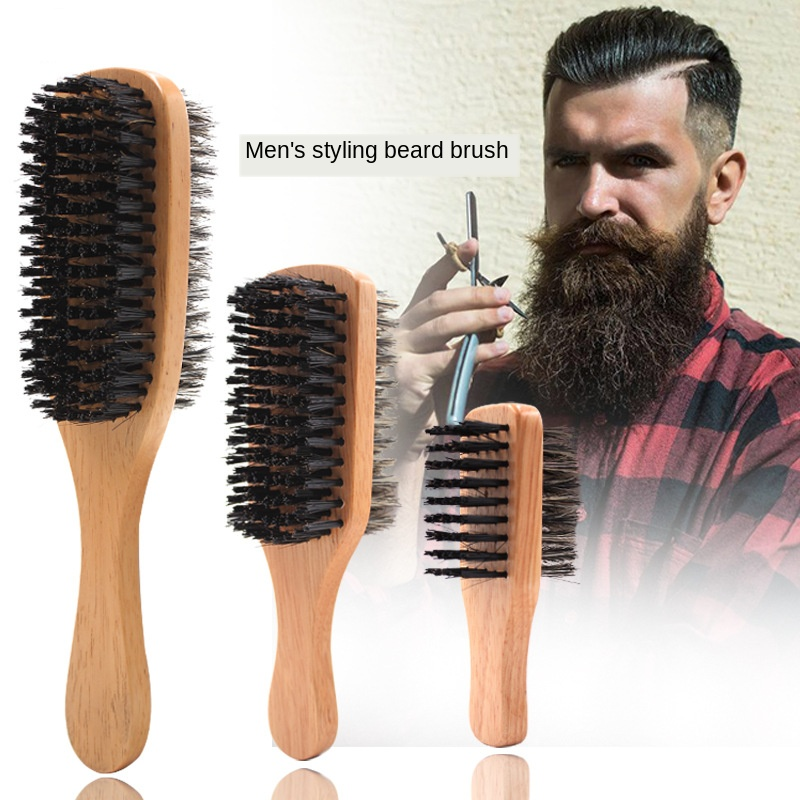 Mens Boar Bristle Hair Brush Natural Wooden Wave Brush For Male Styling Beard Hairbrush For Short Thick Curly Wavy Hair G0118