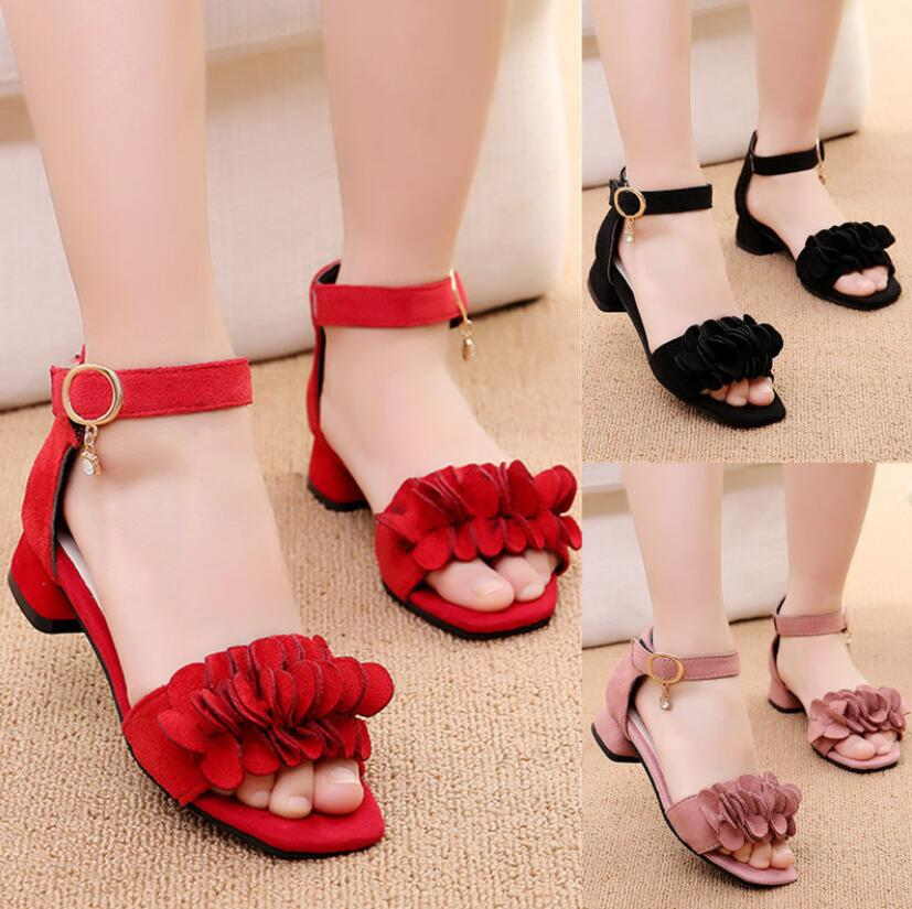 Summer Kids Leather Shoes Girls Wedding Dress Shoes Children Princess Flower Sandals For Girls Casual Dance Shoes Flat Sandals
