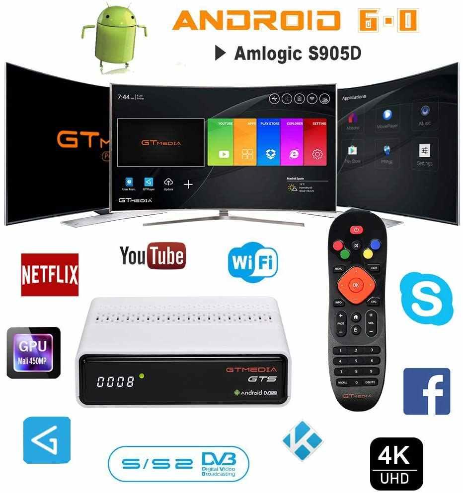 Freesat Gtmedia GTS Android 6.0 4K Smart TV Box Amlogic S905D Combo DVB-S2 Đầu Thu Vệ Tinh 2G/8GB BT4.0 Set Top Box Cccam M3u