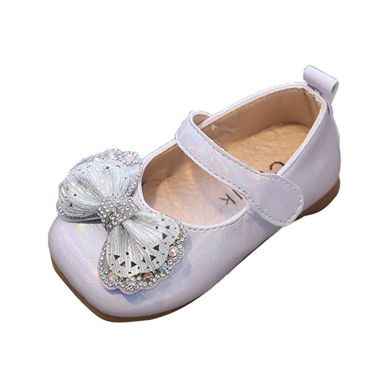 CUZULLAA Baby Children Girls Elegant Rhinestone Butterfly-Knot Casual Princess Shoes Girls Kids Fashion Sneakers Size 15-30