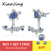 XiaoJing 925 Sterling Silver Summer Ocean lovely Sea Turtle Surfing Stud Earrings for Women Vacation Jewelry Gifts free shipping