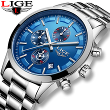 купить Relojes Hombre 2019 LIGE Mens Watches Top Brand Luxury Business Blue dial Full Steel Waterproof New Watch Men Sport Quartz watch дешево