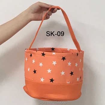 Handmade Canvas Tote Bag 20pcs Halloween Basket Personalized Canvas Bag Party Decoration Kids Toys Christmas Gift 12 Styles