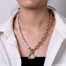 Es barroco Vintage perla Irregular cerradura cadenas collar 2020 geométrico colgante collares para las mujeres joyería Punk mujer Regalos