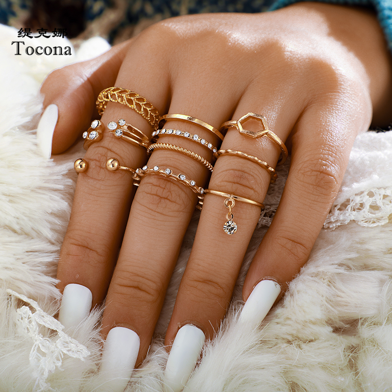 Tocona 8pcs/sets Bohemian Geometric Rings Sets Clear Crystal Stone Gold Chain Opening Rings for Women Jewelry Accessories 9012