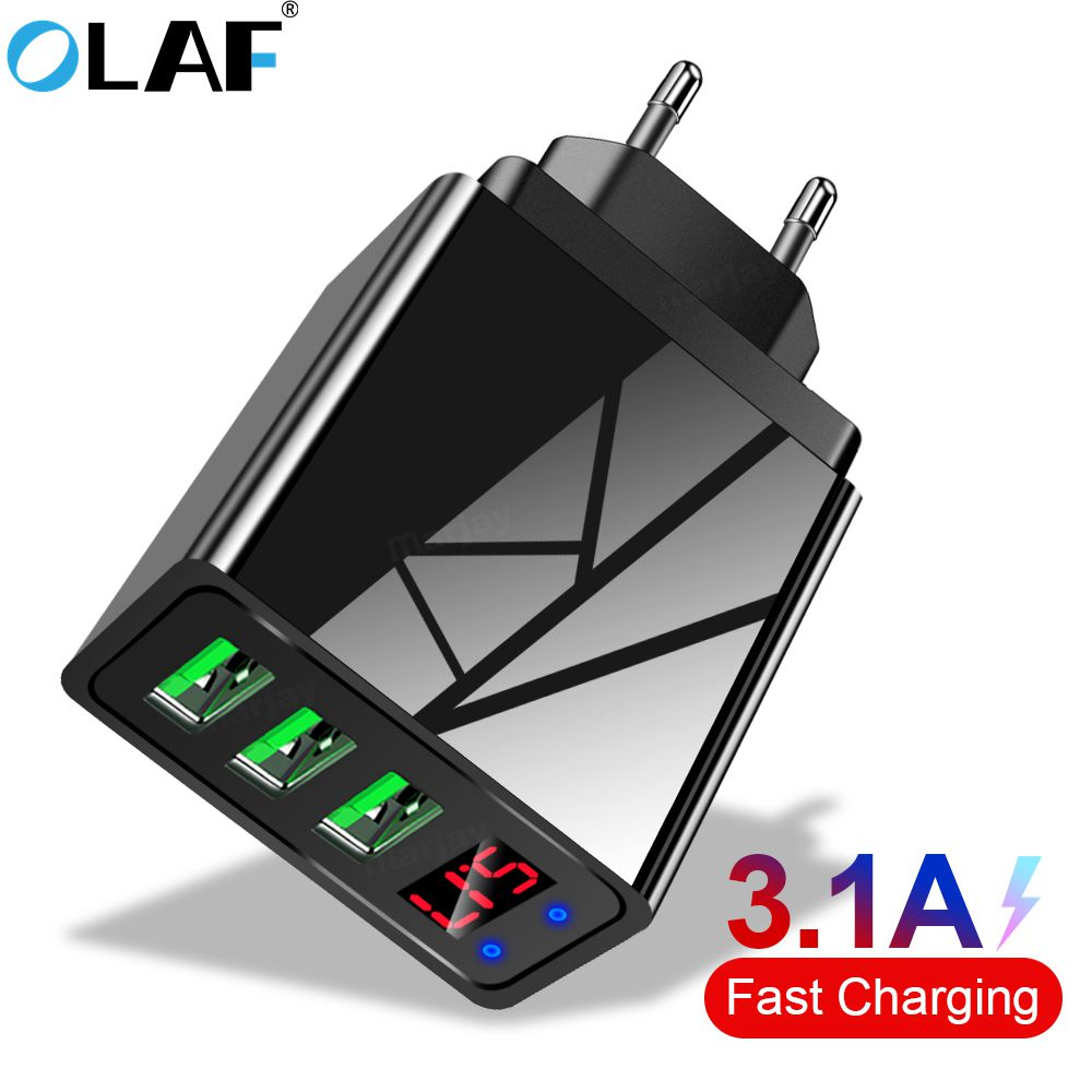OLAF 5V 3.1A Digital Display USB Charger For iPhone Charger 3 USB Fast Charging Wall Phone Charger For iPhone Samsung Xiaomi 1
