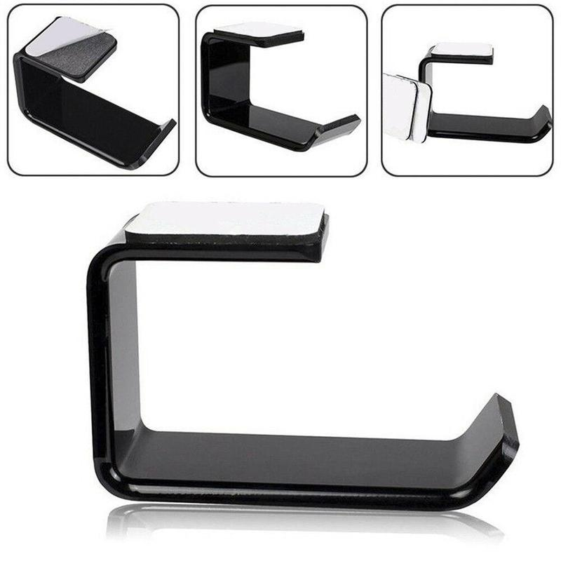 1PC Sticker Acrylic Headphone Bracket Hanger Under Desk Wall Mounted Headset Holder Hook Earphone Sticky Display Stand Black New