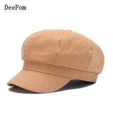 Octagonal Hat Cap Beret Newsboy-Cap Cotton Women for Plaid Vintage Fashion Ladies Spring