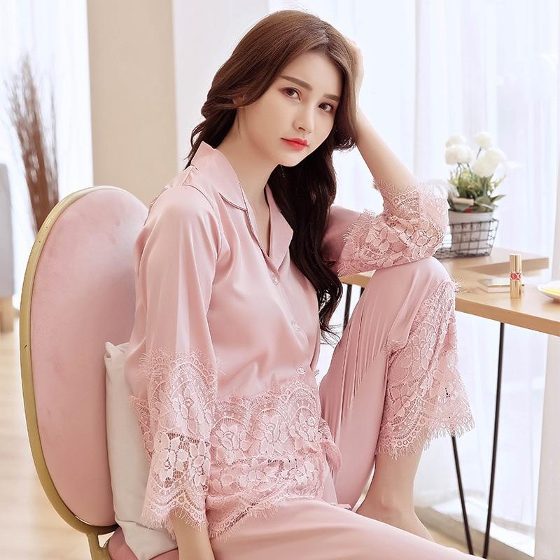QWEEK Summer New Korean Version Simple Silk Pyjamas Women Thin Cardigan Nightwear Sexy Lace Satin Pajamas Comfortable Pijamas