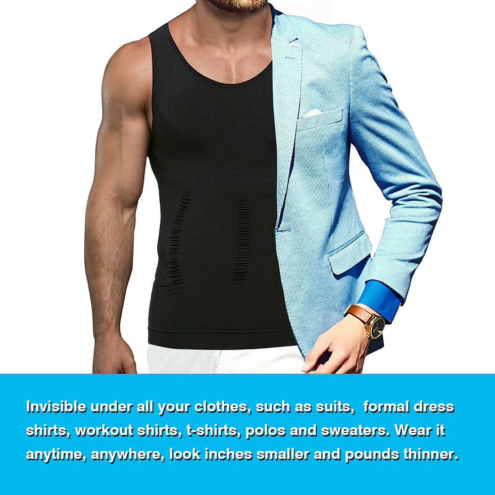Mannen Borst Compressie Tank Top Afslanken Body Shaper Vest Shirts Abs Buik Slanke Hemdjes Gym Gewichtsverlies Workout Kleding