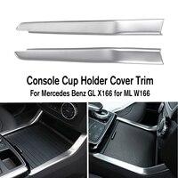 Auzan 2 pçs abs sliver interior console suporte de copo água capa guarnição para benz para mercedes gl x166 ml w166 para a mão esquerda condução
