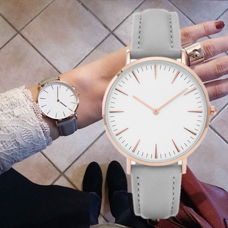 Hot Fashion Simple Leather Women Watches Ladies Fashion Casual Dress Quartz Watch Female Gift Clock Montre Femme Relojes Mujer