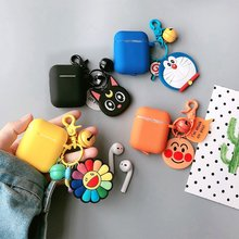 цена на For AirPods Case luxury sunflower /cartoon keychain bell Silicone Cases Bluetooth Earphone Cover Cute For Airpods 2 cover fundas