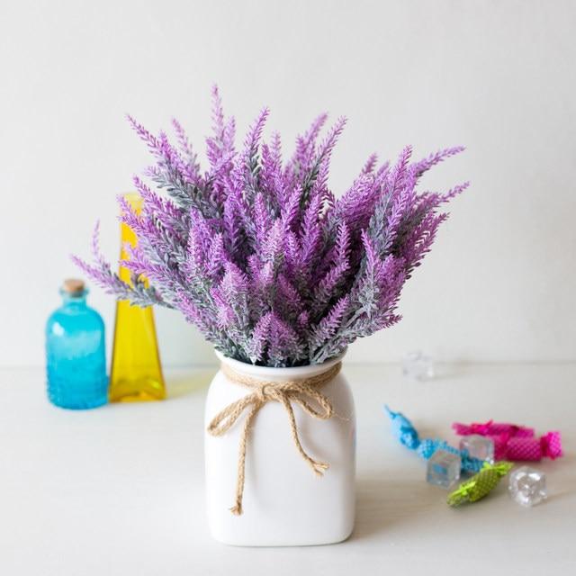 1 Bundle Artificial Flowers Romantic Provence Lavender Plastic Wedding Decorative Vase for Home Decor Grain Christmas Fake Plant 3