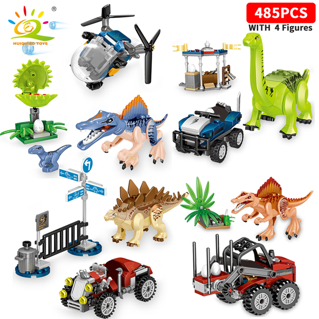 HUIQIBAO Jurassic Dinosaur League Fight for eggs World Park city Building Blocks Dinosaurs Figures car Bricks set children Toys