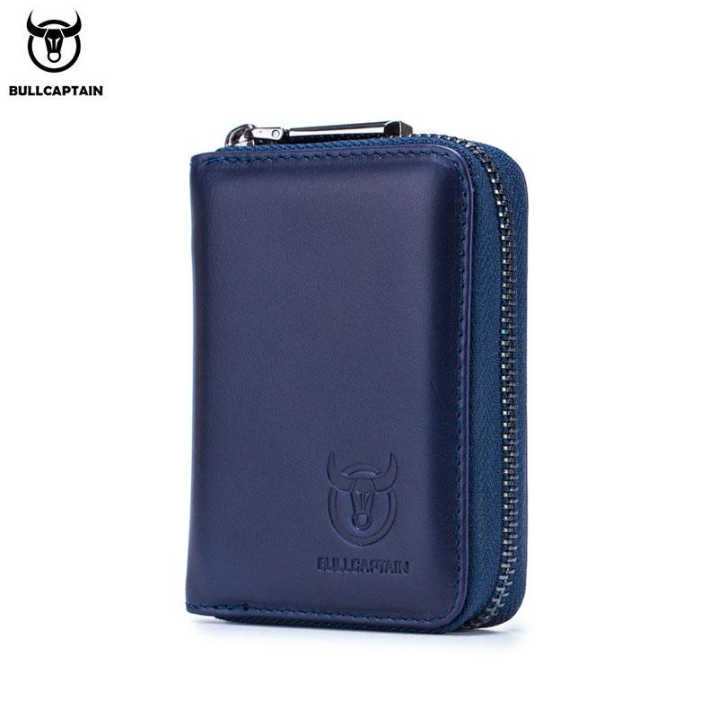 BULLCAPTAIN Leather Credit Card ID Card Holder Wallet Wallet Men Fashion Rfid Card Holder Wallet Business Card Holder Bag