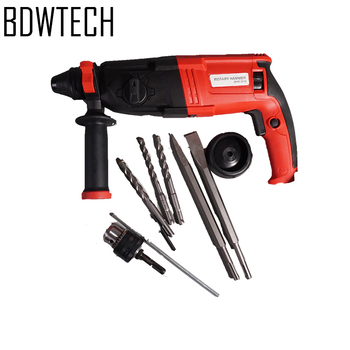 цена на BDWTECH 220V 26mm 4 Functions AC Electric Rotary Hammer with BMC and 5pcs Accessories Impact Drill Power Drill Electric Drill