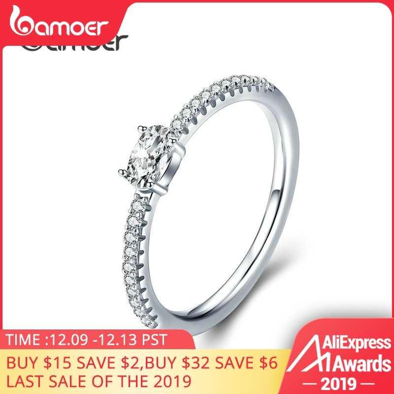 Bamoer Pernikahan Cincin Perak Sterling 925 Clear Cubic Zirconia Pertunangan Cincin untuk Wanita Janji Pernyataan Perhiasan SCR524