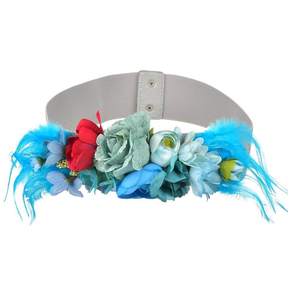 Fashion Women Elastic Wide Corset Belt For Women Glass Crystal Ceinture Ladies Thin Flower Inlaid Belt Waist Girdle BW19