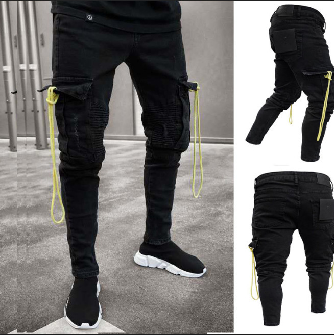 Men Black Cargo Jeans With Pocket Long Slim Fit  Denim Pencil Pants Combat Biker Casual Stretch Work Trousers Man Jeans Hombre
