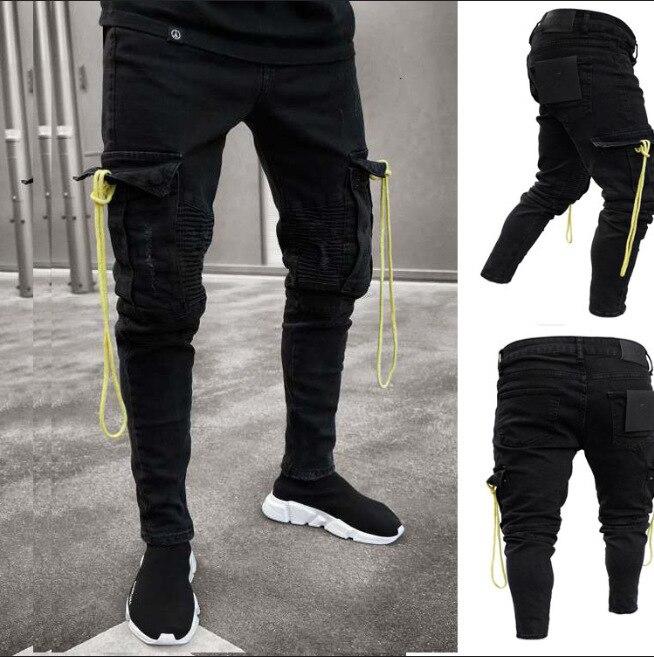 Hip Hop Star Is Money Time Trouser Men/'s Designer Black Cargo Combat Pants