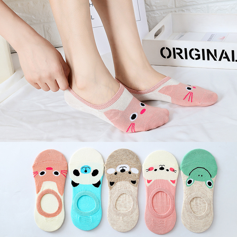 Elifashion Carton Animal Invisible Short Women Summer Comfortable Cotton Girl Boat Socks Ankle Low Female  5 Colors