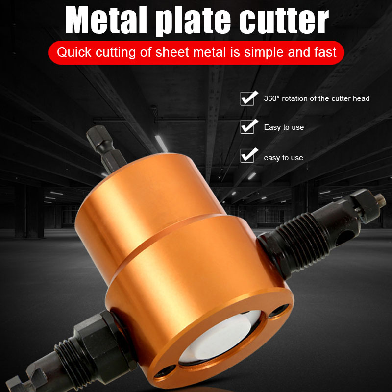 Double Headed Sheet Metal Drill Attachment Metal Cutter With Extra Punch Perfect For Straight Curve And Circle Cutting