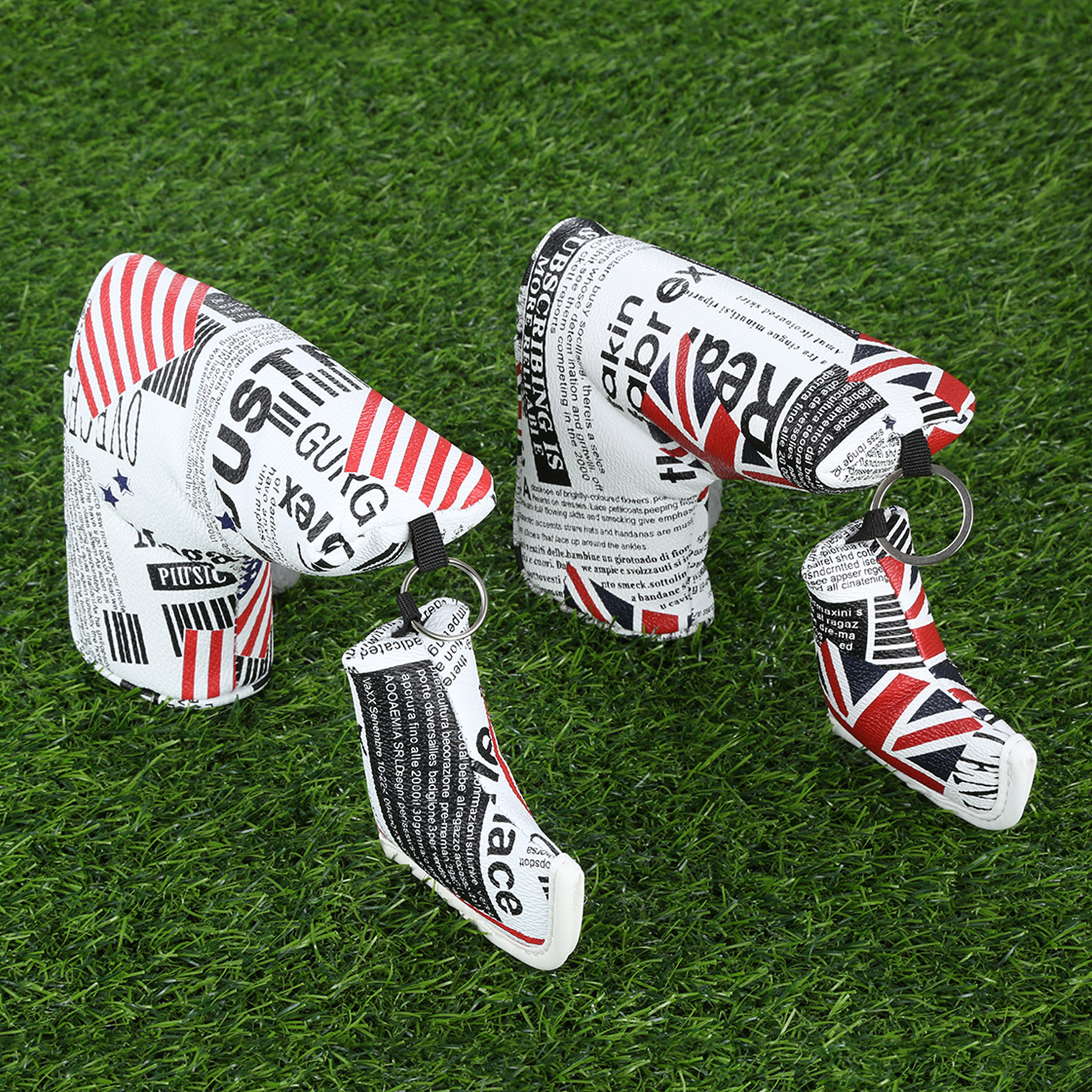 1Pc UK Flag/US Flag Leather Golf Putter Cover Protect Headcover For All Blade/Anser Style Putters Cover Golfer Club Heads Covers