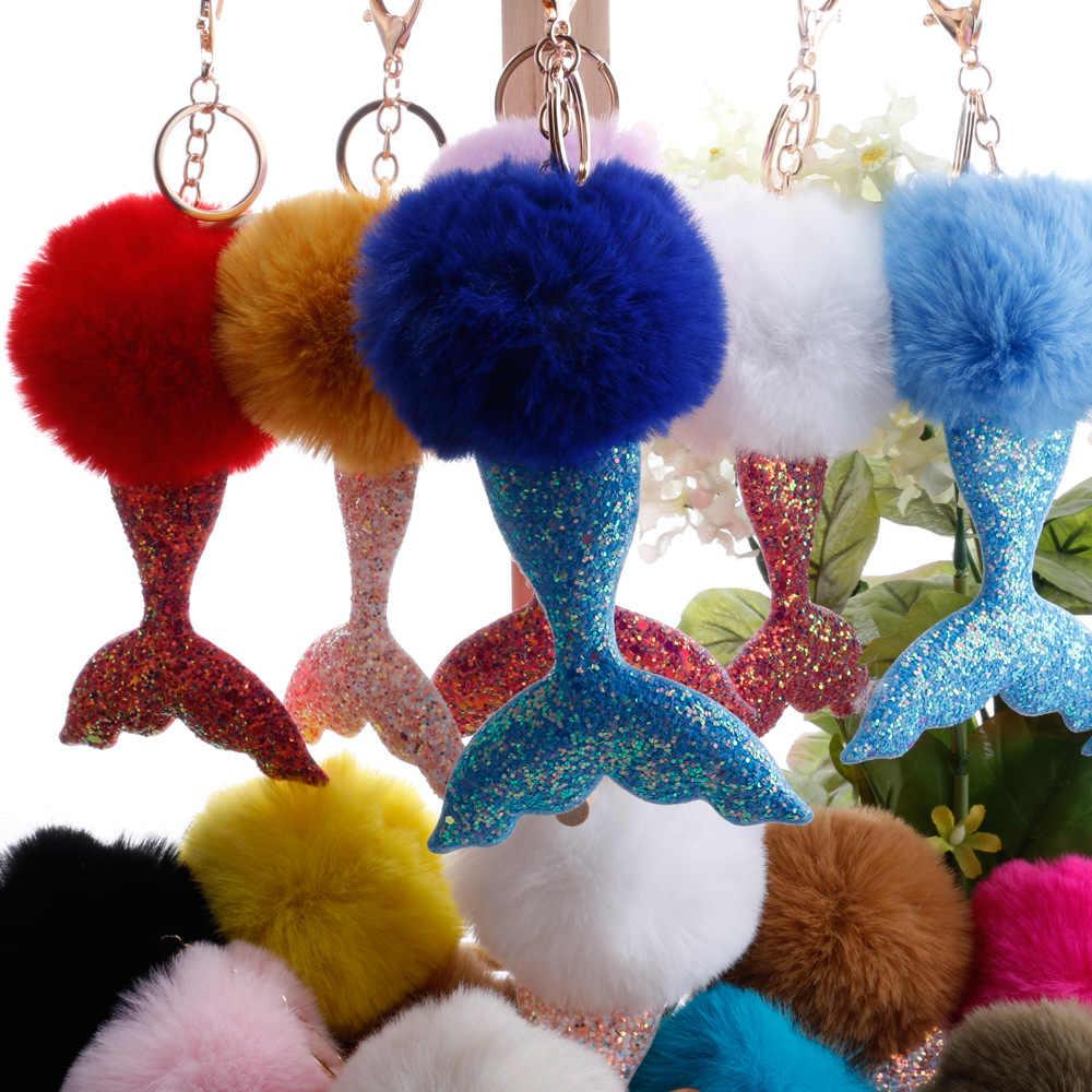 Lantejoulas Sereia Cauda Glitter Crianças Boneca de Brinquedo de Pelúcia Bola De Pêlo Chaveiro Carro Pingente Menina Favorece Saco Das Mulheres Enfeites de Natal decorações de presente