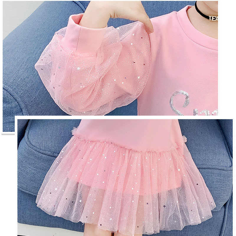 부티크 키즈 의류 2020 봄 어린 소녀 학교 드레스 코튼 오 넥 스웨터 드레스 핑크 긴 소매 편지 드레스 청소년을위한