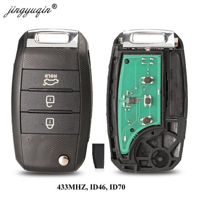 Jingyuqin 3 Pulsante di Vibrazione A Distanza di Chiave Dellautomobile 433MHZ ID46 ID70 Chip Per Kia K5 Sorento Sportage 2013 2014 2015 keyless Fob