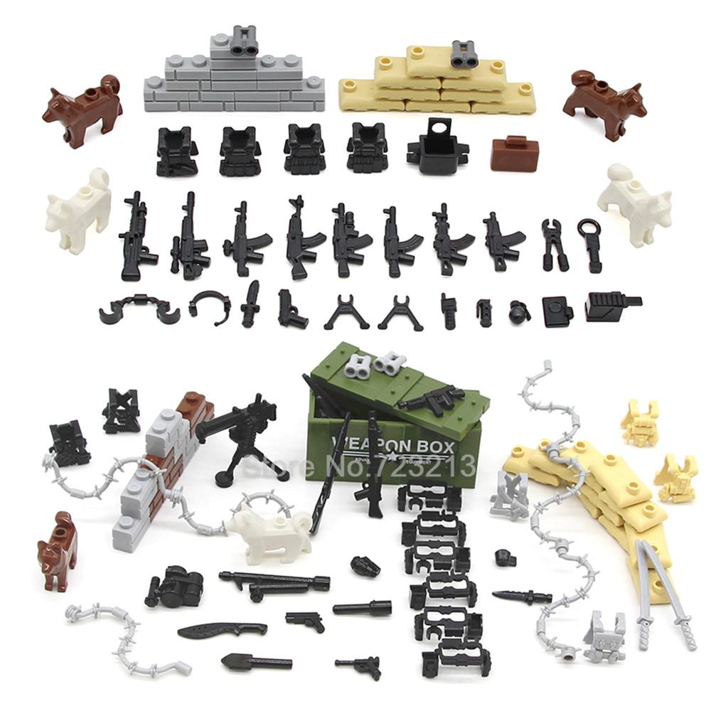 Military Scenes WW2 Accessories Guns Weapons Box Modern SWAT Sandbag Armor Bricks Building Blocks Set Model  MOC Toys Legoing