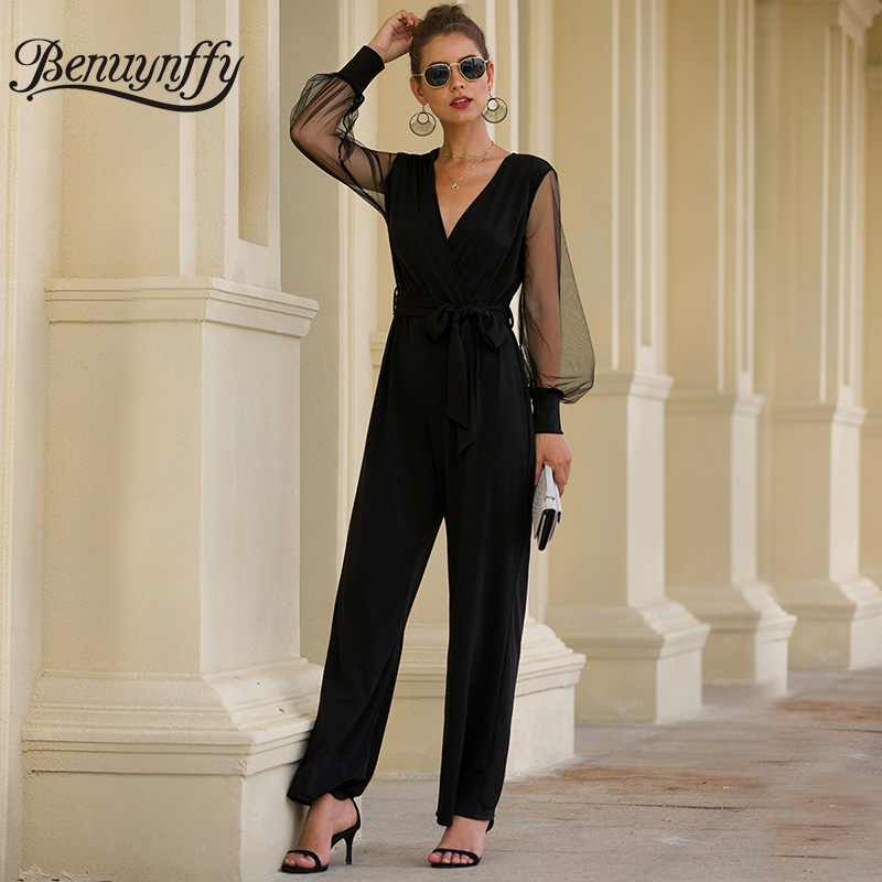 Benuynffy, Офисная Леди, элегантный сексуальный комбинезон с v-образным вырезом и поясом, длинный женский черный сетчатый лоскутный комбинезон с длинным рукавом, женский комбинезон с завышенной талией