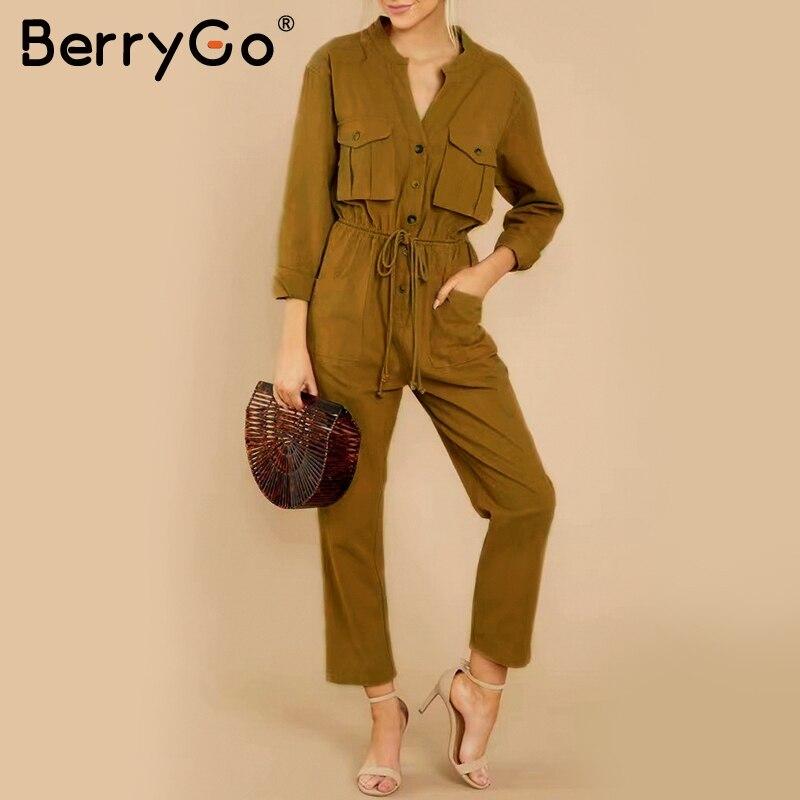 BerryGo Повседневный со шнуровкой карго женский элегантный комбинезон Комбинезоны из хлопка с длинными рукавами длинный комбинезон с v-образн...