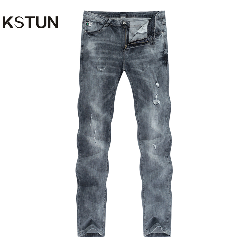 KSTUN Jeans Men Ripped Men's Slim Fit Jeans Summer Stretch Retro Gray Jeans Mens Denim Pants Distressed Streetwear Hip Hop Jeans