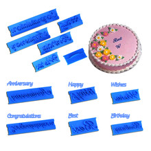 Wholesale 10 Sets(6 Pcs/set) Happy Birthday Handwriting Letter Printing Mold Cake Fondant Cream Decorating Cutter Mold Tools(China)