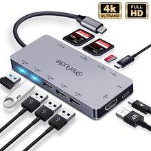 USB хаб OneAudio 7/11 в 1, переходная док станция для нескольких USB 2,0 3,0 4K HDMI, аксессуары для MacBook Pro, разветвитель типа C, для моделей MacBook Pro, аксессуары