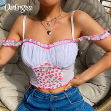 Darlingaga Strawberry Print Mesh Patchwork Crop Top Women Bow Ruched Strap y2k Skinny Summer Top Frills Sleeveless Tees Camisole