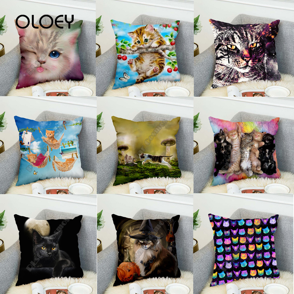 Cute Cat Sofa Pillowcase 3D Cartoon Pillowcase Decoration Set Pillow Pillow Velvet Pillow Bedroom Car Decoration Pillowcase   ..