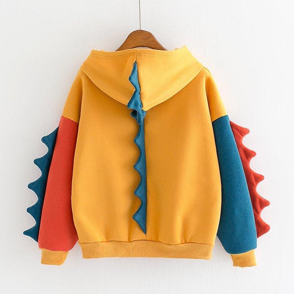 Hoodies Patchwork Winter Cute Harajuku Kawaii Sweatshirt Women Oversize Hooded Pullover Dinosaur Cos Tops Tracksuit Sudadera New