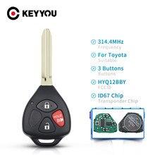 KEYYOU 3 botón inteligente de mando a distancia de coche 314,4 Mhz HYQ12BBY ID67 Chip para Toyota RAV4/Hilux/Camry Auto remoto control clave