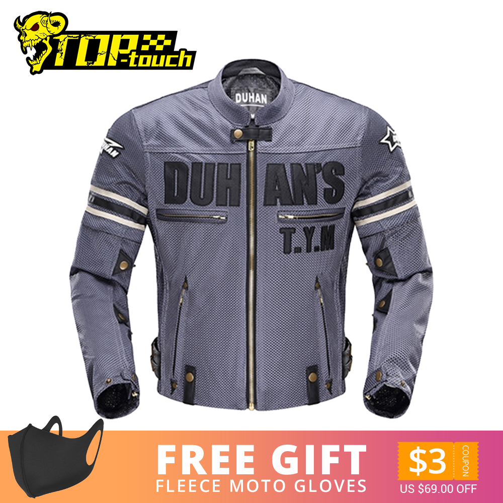DUHAN Summer Motorcycle Jacket Men s Breathable Chaqueta Moto Jacket Mesh Riding Jacket Motorcycle With Removable Protector