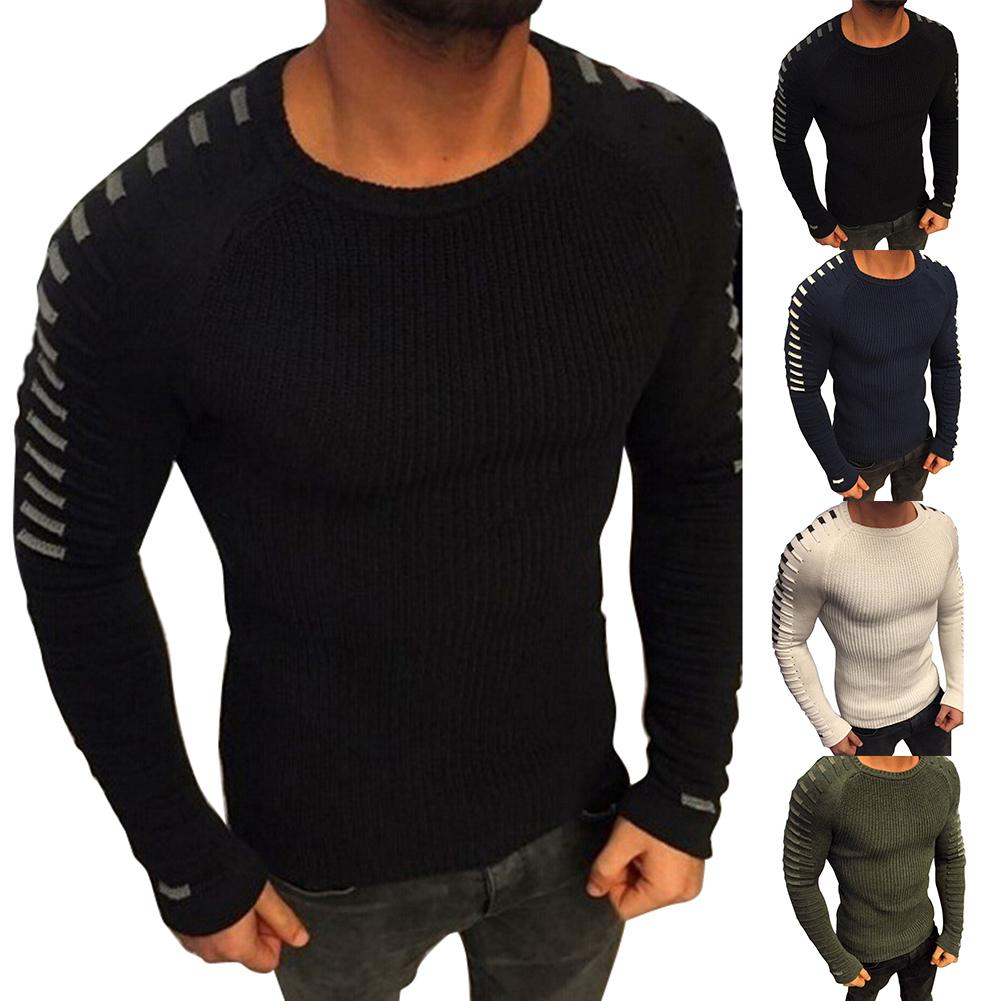 Fashion Sweater Men Pleated Sweater Round Neck Long Sleeve Knitwear Pullover Sweater For Men's Clothing