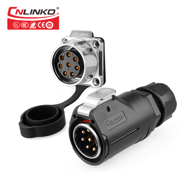 CNLINKO M28 8Pin Plug Socket Panel Mount Power Cable Connector Screw Signal IP67 Waterproof Adapter Nautical Aviation Connectors