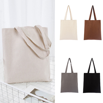 Universal Shopping Bag Large Capacity Cotton Blend Solid Tote Eco Freindly Multipurpose Reusable Natural Storage School #734 6
