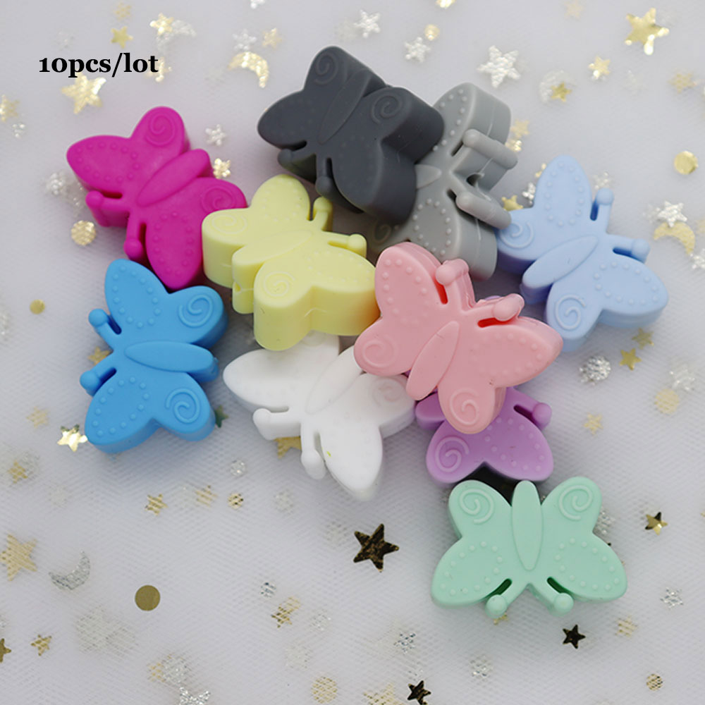 10Pcs Butterfly Silicone Beads Baby Teething Necklace Bead For DIY Jewelry Making Animal BPA Free Siliconen Kralen Bead Baby Toy
