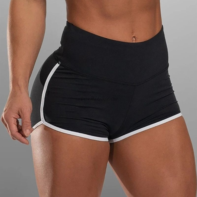 Women Solid Color Workout Shorts High Waist Compression Stretchy Ruched Butt Lifting Leggings Striped Trim Sport Shorts S-5XL