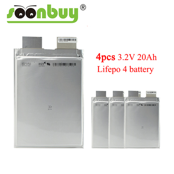 4PCS 3.2v 20ah lifepo4 20000mah cell for electric vehicle battery ups diy 12v battery pack power system storage